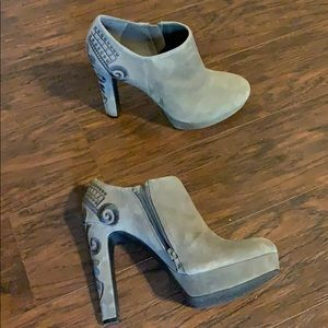 Gray booties with detail
